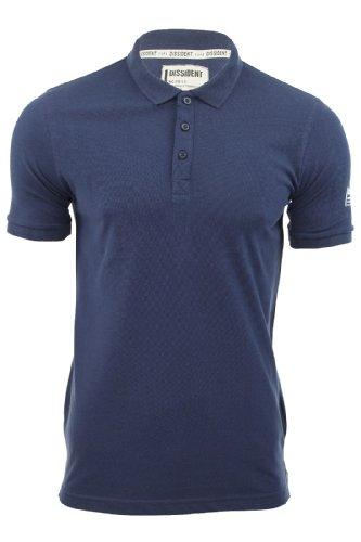 Herren T-Shirt Poloshirt Dissident Einfarbig Manor Kurzarm Mitternachtsblau