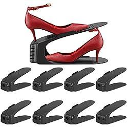 Support de Rangement pour Chaussures Réglable sur 3 Niveau, Chaussures Empilables, Support pour Organisateur de Chaussures, étagère Magique pour Placard de Mangement pour la Maison 8pcs (Noir)