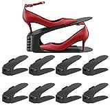 Lot de 8 Support de Rangement pour Chaussures Réglable sur 3 Niveau, Chaussures Empilables, Support pour Organisateur de Chaussures, Gain de Place pour Placard de Mangement pour la Maison (Noir)