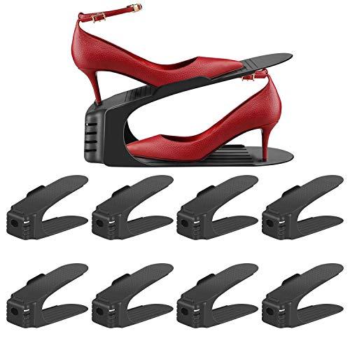 Verstellbare Schuhstapler 8St, Schuh-Slots, einstellbare Schuhregale, Schuhhalter-Set, Schuh-Organizer, platzsparendes Schuhregal 3 höhenverstellbar (Schwarz)