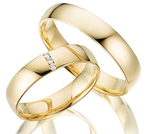 2 x 333 Trauringe Gelbgold ECHT GOLD Eheringe schlichte Spannring LM.05.V2 Juwelier Echtes Gold Verlobunsringe Wedding Rings Trouwringen