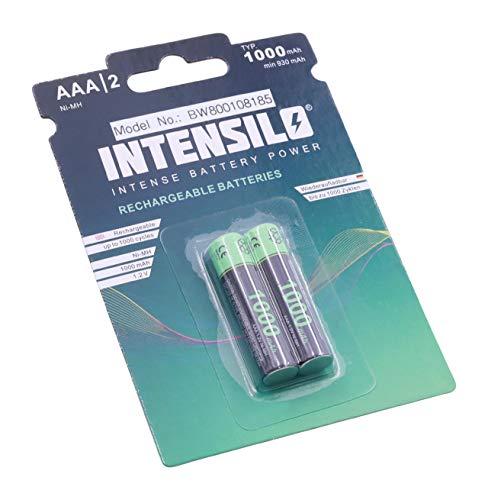 INTENSILO 2X NI-MH 1000mAh (1.2V) wiederaufladbare Akkus Batterien für Swissvoice Eurit 557, 748, 758, 758 Duo wie AAA, Micro, R3, HR03.