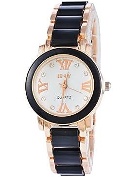 MJARTORIA Damen Armbanduhr Retro Analog Quarz Damenuhr Römischen Ziffern Zugband Rosagold Farbe 24cm
