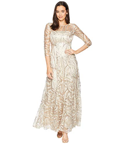 Tahari by ASL Womens Novelty Sequin Sleeved Gown