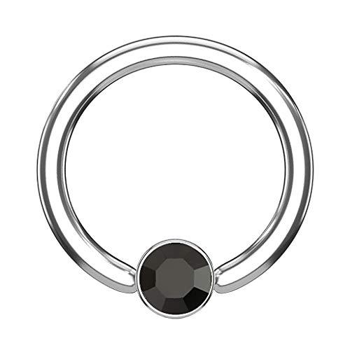 Piercingfaktor BCR Piercing Klemmring Ring Flach mit Kristall Klemm Kugel Septum Nasen Lippen Helix Ohr Tragus Silber Schwarz 1,2mm x 8mm x 3mm