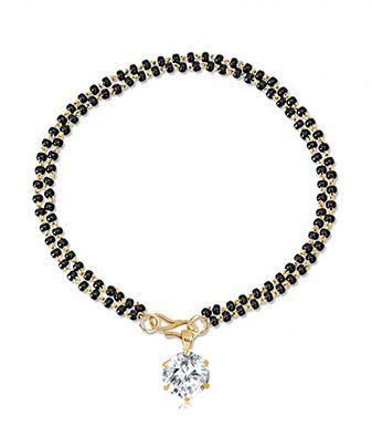 Zeneme Hand Gold Plated Bracelet Style Mangalsutra For Women (Round)