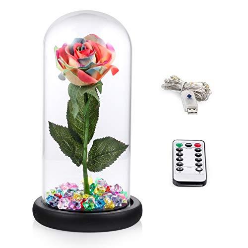 Kit di rose ''la bella e la bestia'', colorato silk rose e led light con cristalli in cupola di vetro su base in legno per la decorazione della casa anniversario di matrimonio festa della mamma