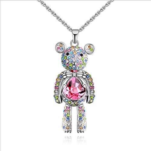 CFPPX Niedliche kleine Bär Kristall-Halskette, kleine Bär Halskette mit Colorful Swarovski für Geschenke Frauen ()