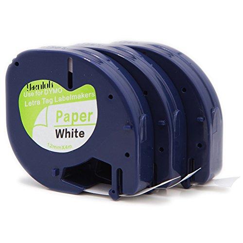 3 Pack Dymo 91200 Label Tape S0721510 Compatible LetraTag 91220 91330 Paper Tape Cassette 12mm X 4m Black on White Sticker for LT-100H LT-100T QX50 Label Makers …