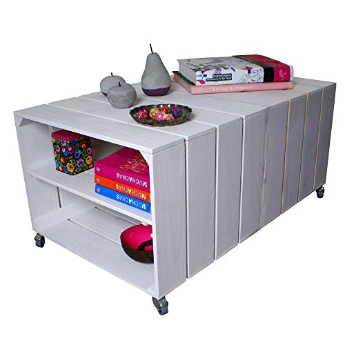 Lize Line® Couchtisch Wohnzimmertisch Beistelltisch Tisch Tafel Truhentisch Holztisch Holz Möbel Weiß 51x83x40cm | umweltfreundlich