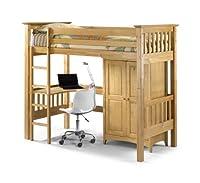 Happy Beds Bunk Bed Bedsitter Barcelona Style Pine Wood Sleep Station Children Kids Luxury Spring Mattress 3' Single 90 x 190 cm