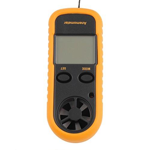 Sienoc LCD Numérique Vitesse du Vent Échelle Gauge Compteur Thermomètre Anémomètre- Anémomètre à Main Ideal pour Planche à Voile, Pêche, Cerf-Volant et Alpinisme