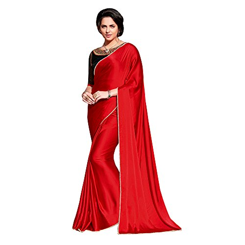 Shaily Retails Women's Satin Saree With Blouse Piece (Saloni1051Sssr01, Red, Free Size)