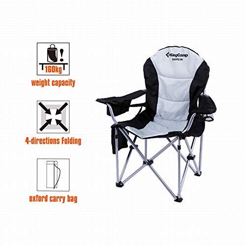 KingCamp Moon Saucer Sedia Pieghevole da Campeggio Rotonda Seduta Imbottita Struttura in Acciaio Resistente con portabicchieri e Tasca Posteriore