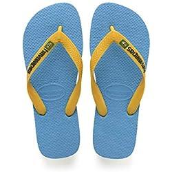 Havaianas Brasil Logo, Chanclas Unisex Adulto, Azul (Turquoise/Citrus Yellow), 37/38 EU