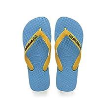 Havaianas Kid's Brazilianasil Logo Flip Flops, Blue(Turquoise/Citrus Yellow),12 UK ,31/32 EU (29/30 Brazilian)