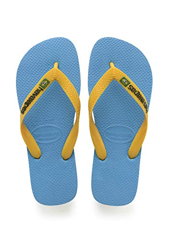 Havaianas Unisex-Kinder Brasil Logo Zehentrenner, Blau (Turquoise/Citrus Yellow), 31/32 EU (29/30 BR) - Havaianas Brasilien