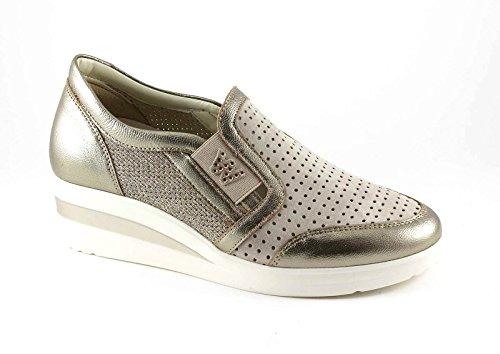 MELLUSO WALK R20109 alba oro scarpe donna sportive zeppa elastico slip-on 37