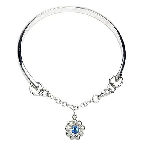 Cœur à cœur Multi Taille Argent sterling Charm Bracelet pour filles de fleurs–Gravure et personnalisé gratuit Box Ribbon–12mois de garantie, Sapphire Crystal, 0-5