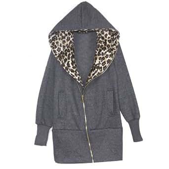 Vest vetement manteau capuchon sweat shirt leopard de chandail long coton femme dames filles femme sweat automne hiver nouveau Gris XXL
