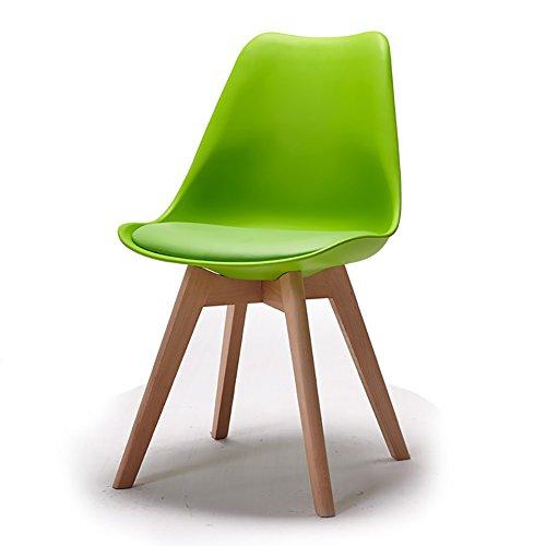 ZJM- Lounge Chair Kreative Esszimmerstuhl Massivholz Küchenstuhl Plastic Coffee Chair Bürostuhl (Farbe : Grün)