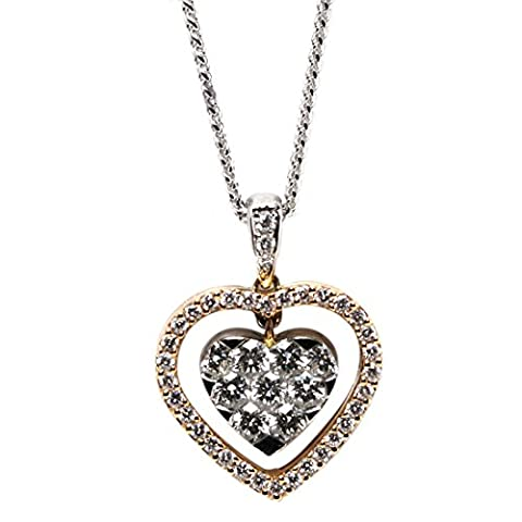18ct Rose & White Gold Round Cut Invisible Setting Diamond Heart Pendant (0.75 Ct, G Color, VS1 Clarity)