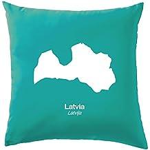 """Lettonie Silhouette Coussin–41x 41cm (40,6cm)–10couleurs, 100 % coton, turquoise, 41 x 41cm (16"""")"""