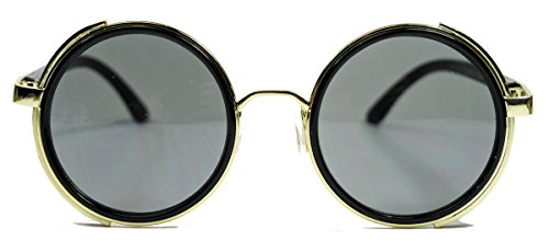 1970's Kostüm Kunststoff - Retro Sonnenbrille wie Vintage Gletscherbrille Lennon steampunk sunglasses rund (Schwarz Gold / Grau getönt)