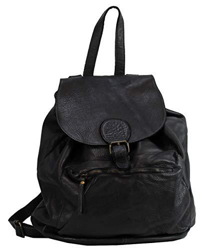 BZNA Bag Kaya Schwarz nero Backpacker Designer Rucksack Damenhandtasche Schultertasche Leder Italy Neu