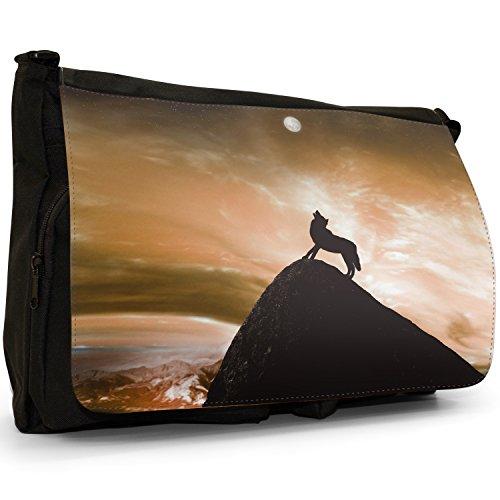 scuola Laptop che classiche tracolla nero luna tela borsa Lupo alla Borsa piena grandi Per a Orange ulula 7q1g7dxZ
