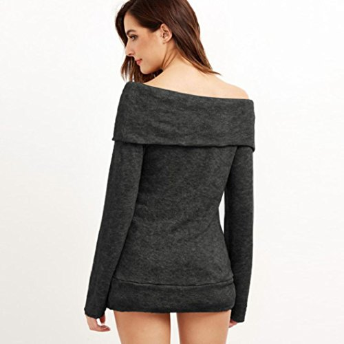 LSAltd Damen aus Schulter trägerlosen Hemd, Damen elegante lange Ärmel Bluse Casual Tops Shirt Pullover Schwarz