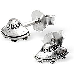 Pendientes niños en plata 925/000Circona platillo volador OVNI