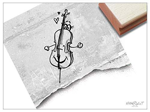 Stempel Motivstempel Geige Violine - 2 Größen - Bildstempel Musikinstrument Karten Basteln Deko Scrapbook Geschenk für Kinder - zAcheR-fineT (groß ca. 31 x 59 mm)