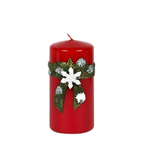 Vela Vela de Navidad 120mm de diámetro de 58mm Copo de nieve Color Rojo lacado