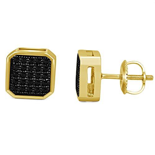 lilu Jewels New 1Paire Fashion Lady rond noir diamant coupe en argent sterling 925boucles d'oreilles clous 14k Gold Plated