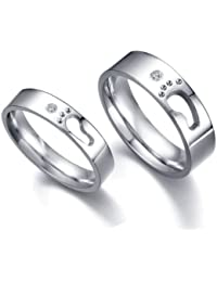 bigsoho Fashion Footprint?s of Love Shining Cz Rhinestone Silver Titanium Stainless Steel Women Men Wedding Lover Couple Ring Size J 1/2,L 1/2,N 1/2,P 1/2,R 1/2,T 1/2