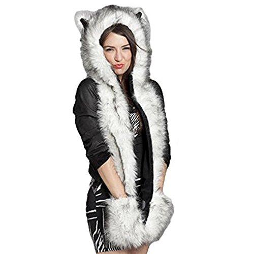 Petalum Damen Mütze Winter Warm Kapuzenschal Handschuhe Plüsch Tiere Bär Panda Wolf Paws Ohren Fellmütze (Winter Mütze Tier-ohren Mit)