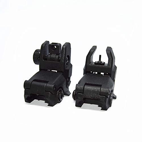 FIRECLUB Newest Model Tactical Polymer Folding Front and Rear Set Flip up Backup Sights (Black) -