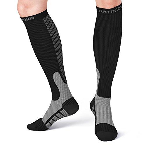 Kompression Socken Strümpfe (10-20mmHg) für Männer und Damen, Sport Strümpfe Geeignet für Laufen, Flug Reisen, Boost Ausdauer, Zirkulation und Recovery (Schwarz, L/XL)