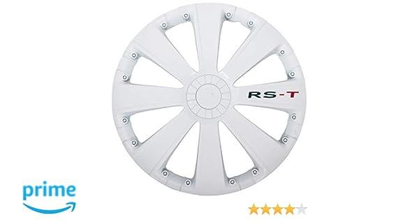4 Pezzi AutoStyle RST Bianco Set Copricerchio Bianco