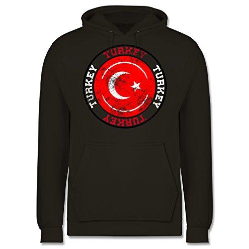 EM 2016 - Frankreich - Turkey Kreis & Fußball Vintage - Männer Premium Kapuzenpullover / Hoodie Olivgrün