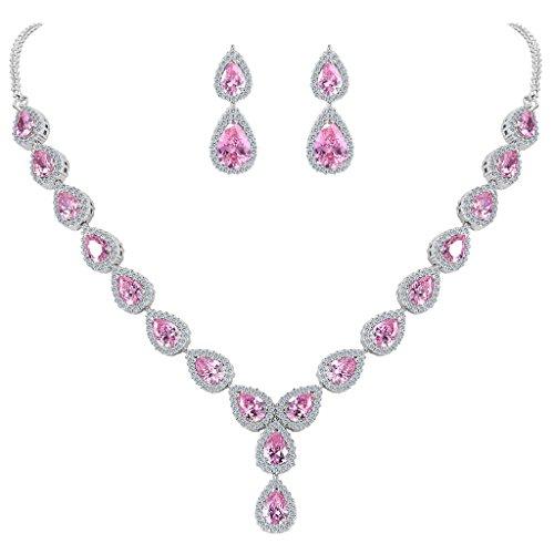 Clearine Mujer Conjunto de Joyas Juego de Joyas Boda Nupcial Lágrima Infinito Figure 8 Y-Collar Rosa