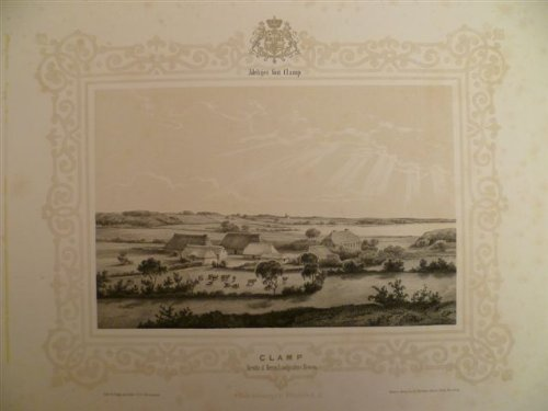 Besitz d. Herrn Landgrafen v. Hessen. Lithographie mit Tonplatte von F.A. Hornemann aus 'Ansichten adeliger Güter Holsteins' von 1850. Ca. 17 x 26 cm (mit Ornamenten und Wappen 28 x 37,5 cm).