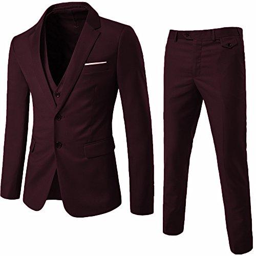 YIMANIE Herren Anzug Slim Fit 2-Knopf 3 Stück Anzüge Jacken-Weste und Hosen groß Dunkelrot -