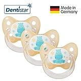 Dentistar Schnuller 3er Set - Nuckel Silikon in Größe 1 von Geburt an, 0-6 Monate - zahnfreundlich & kiefergerecht - Beruhigungssauger für Babys - Nilpferd Orange