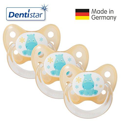 Dentistar® Schnuller 3er Set - Nuckel Silikon in Größe 1 von Geburt an, 0-6 Monate - zahnfreundlich & kiefergerecht - Beruhigungssauger für Babys - Nilpferd Orange