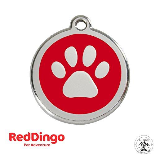 Preisvergleich Produktbild Red Dingo Hundemarke mit Gravur - Hunde ID Tag - Adressanhänger - Adressschild - (Pfote Rot)