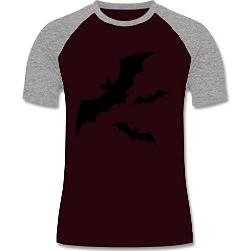 Halloween - Fledermaus - zweifarbiges Baseballshirt für Männer Burgundrot/Grau meliert