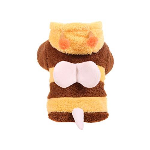 POPETPOP Hund Bumble Bee Kapuzen Kostüm Winter Welpen Kleidung Katze Bekleidung Pullover Kleidung - Größe M (Gelb und ()