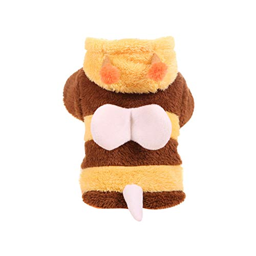 Bumble Kostüm - POPETPOP Hund Bumble Bee Kapuzen Kostüm Winter Welpen Kleidung Katze Bekleidung Pullover Kleidung - Größe XL (gelb und Kaffee)